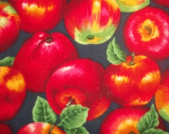 sale Beautiful Red Apples with leaves and stems on them on a dark back ground From VIP 1 yard cotton quilt fabric