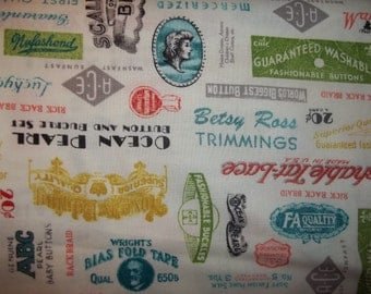 Windham Fabrics presents Vintage sewing  labels  and  ads  1 yard cotton