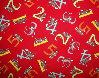 Sock Funky Monkey counting monkies with numbers on red by Erin michael for 5 Funky Monkey Moda 1 yard