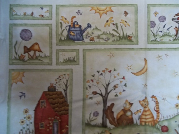 Beautiful Cat Panel with kittys and butterflies with cream back ground for RJR 1 panel licensed print