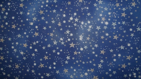 Beautiful Metalic Night Fairy  print from Michael Miller Fabrics with  metalic silver stars all over 1 yard cotton quilt fabric