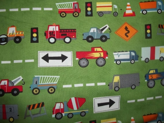 Sale OOP Ten Little Things By Moda cars and trucks on green and more on green 1 yard cotton quilt fabric