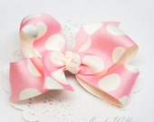 Pretty light yellow polka dot pink hair bow - French barrette hair clip - for all ages