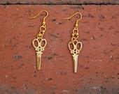 Gold Scissors Earrings