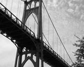 St. Johns Bridge Photograph, 8x12 Black & White, Cathedral Park,  Portland, Oregon
