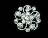 5 Vintage Clear Crystal Rhinestone Buttons