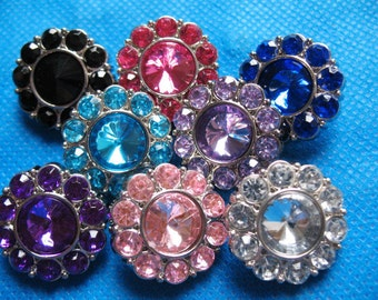 8 Plastic Rhinestone 25mm Buttons-8 colors PA002