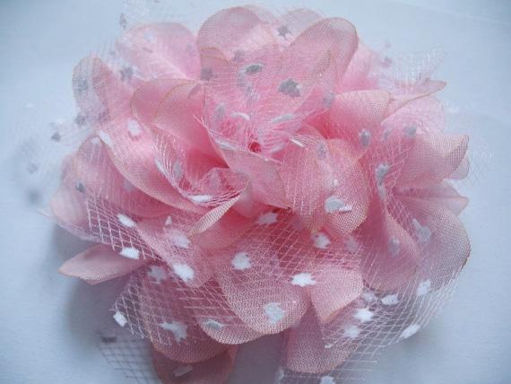 "5 Large 4D Polka Dots Mesh Lace 4.5"" Flower-Pink D007"