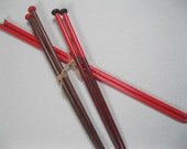 Rare vintage plastic knitting needles-3 pairs reds and brown