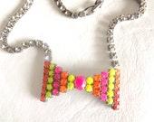 Handpainted neon vintage rhinestone bow tie statement necklace