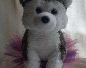 Beautiful Plush Husky Puppy in a Handmade Tutu