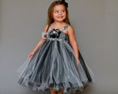 The Kaylee..Simply Elegant Black and White Tutu Dress with Damask Shoulder Straps and Personalized Centerpiece....