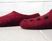 Felted slippers RED WINE
