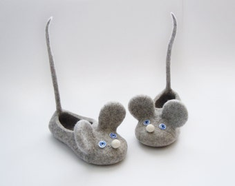 Felted kid size slippers MICE