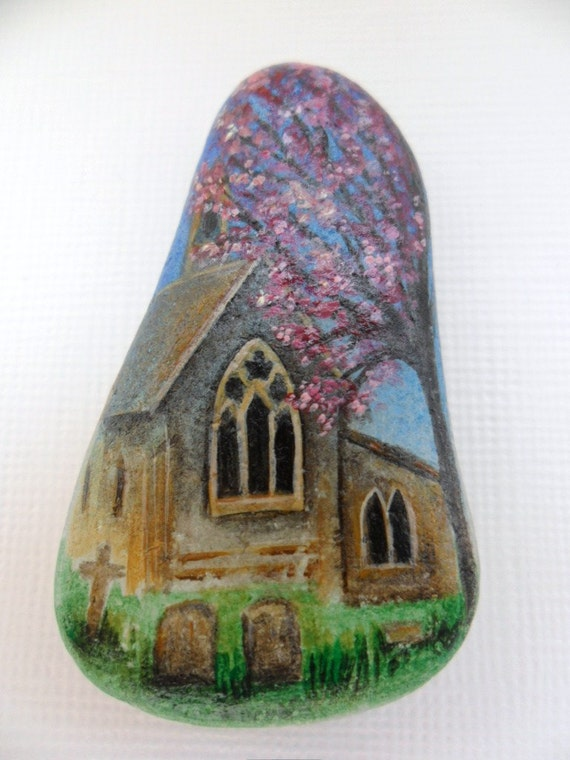 Reserved item for Beverly - Miniature art - hand painted sea glass - English church under Spring blossoms