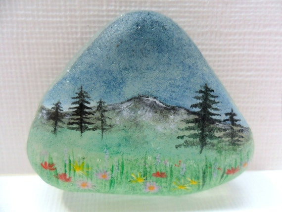 Wildflower meadow - Miniature art - hand painted sea glass - original acrylic painting