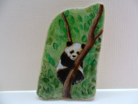 Miniature art - Hand painted sea pottery - Black and white panda chilling out in a tree