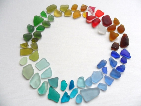 61 rainbow sea glass chips and tinies - includes several rare reds - English beach finds