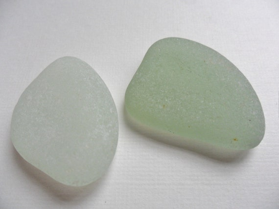 2 partial bottle bottoms - seafoam and white - perfect velvety frosting - from Northern England
