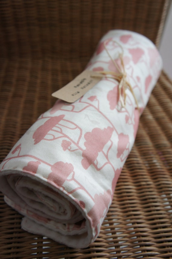Pink Organic Baby Blanket: Trees and Cranes jersey front and Fleece back