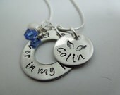 Forever in my heart with angel wings hand stamped stainless steel necklace