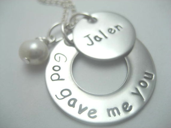 God gave me you hand stamped stainless steel necklace