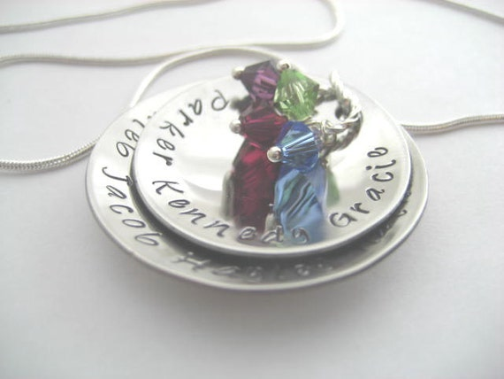 Mothers hand stamped & domed stainless steel necklace with birthstones