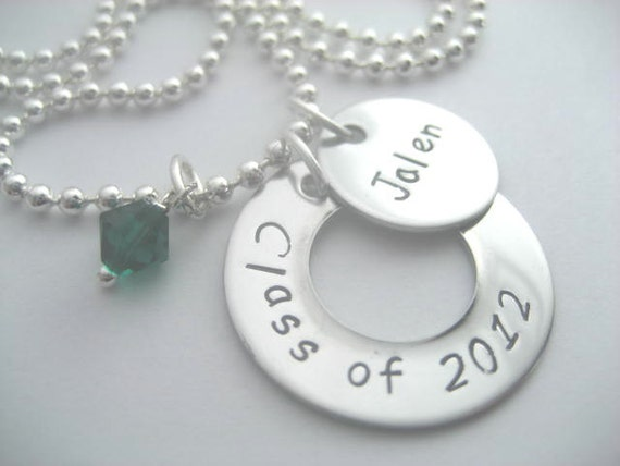 Class of 2012 hand stamped stainless steel necklace