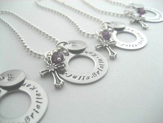 Bff Necklace set of 4- hand stamped stainless steel