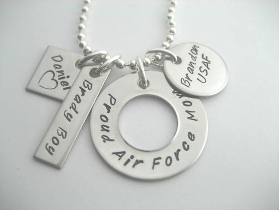 Proud Air Force mom, handstamped stainless steel necklace