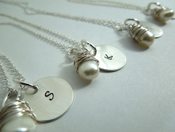 Bridesmaid necklace set of 4, custom handstamped sterling plated with wire wrapped gemstones