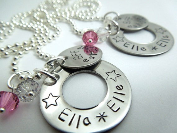 Bff star necklace set of 2 hand stamped stainless steel