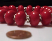 Bracelet Candy Apple Red and Silver Stretches