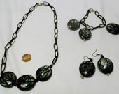 Necklace Bracelet and FREE Earrings Set Black Chain with Dark Green Dangles, Big Chunky Jewelry, Jewelry Set,  Black and Green Jewelry  OOAK