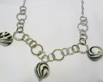 Necklace Animal Jungle Silver Circle Chain featuring Three Large  Zebra Stripped Dangles, Large Chunky Necklace, Jungle Print Jewelry,  OOAK