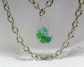 SALE Green and Silver Chains with Green Fused Glass Pendant, Long Chains Necklace, Long Necklace by Cindydidit OOAK