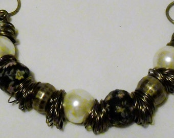 Necklace with FREE Bracelet Antique Gold Bulky Set, Antique Gold and Pearl, Large Chunky Necklace and Bracelet, Jewelry Set,  OOAK