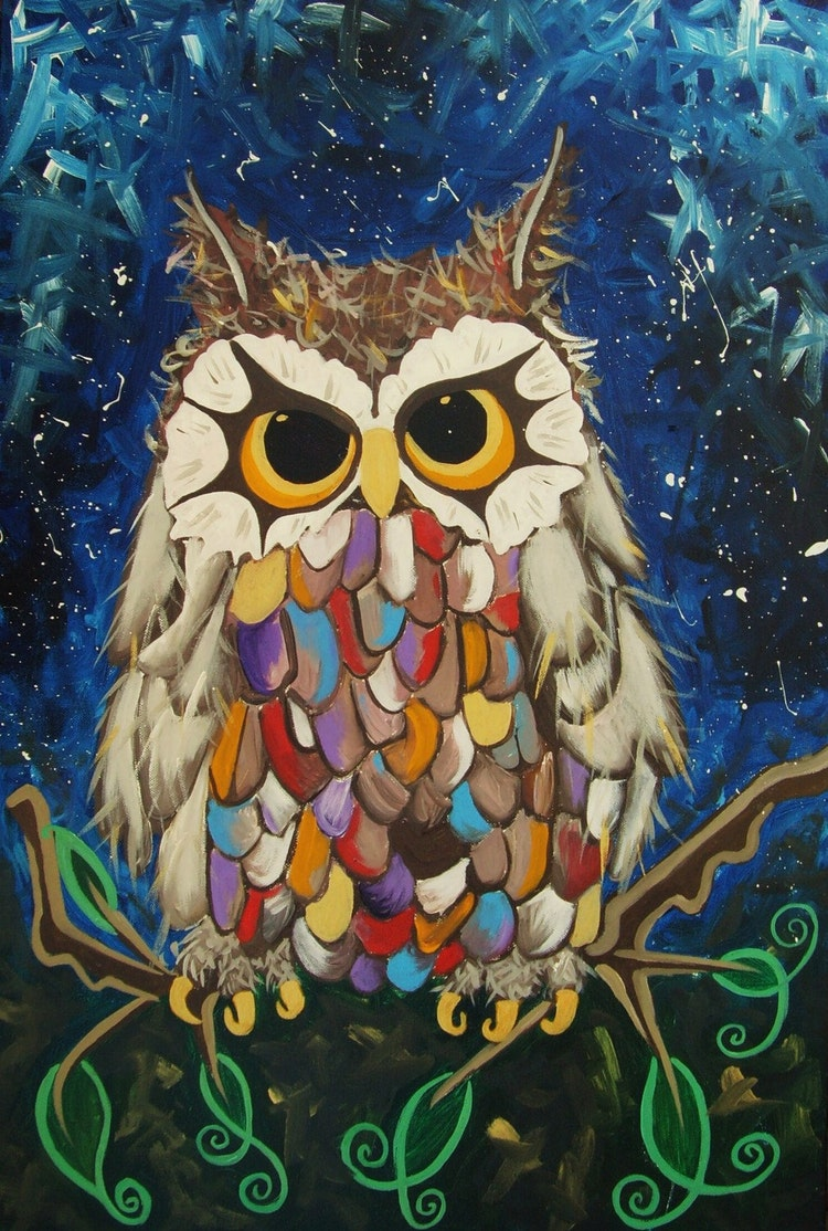 Original 'Little Owl' painting A Magical owl in by ...Simple Owl Painting