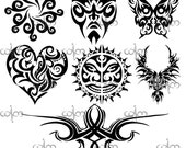 items similar to tribal tattoo damask clip art graphic design pattern for your art projects on etsy. Black Bedroom Furniture Sets. Home Design Ideas