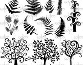Whimsical Trees and Ferns Clip Art Graphic Design Pattern for your art projects