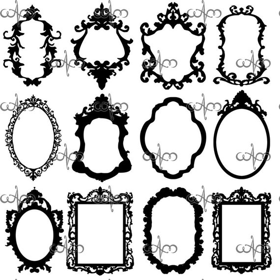 Baroque Frames Clip Art Graphic Design Pattern for by ...