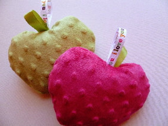 Crunchy Apple Sensory Infant Toy, infant or baby toy soft minky crinkle taggie lovey baby shower gift