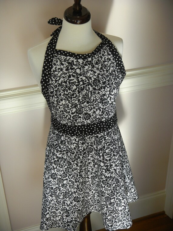 Woman's Full Apron - Beautiful Black and White Contrasting Fabric