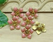 10 pcs Raw Brass Finding Resin Glossy, Pink  Rose  ( 120227)