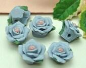 8pcs Big  Rose Ceramic 16mm,  Lt  Blue/ Pink Centre