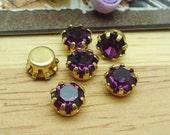 10 pcs  Golden Brass  Base  Purple Charms 6mm,