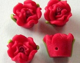 8 pcs - 8mm  fimo rose flower, red