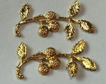 2 pcs   gold plated leaf w/ nuts,25 x 45 mm
