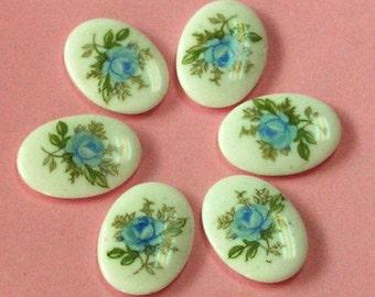 6 pcs Vintage japanese porcelain cameo , blue rose
