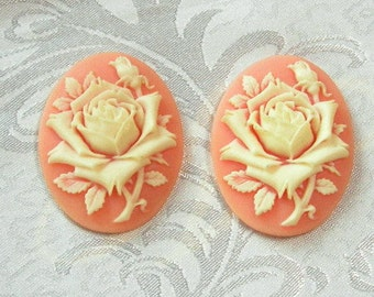4 pcs ivory rose  on coral colored  cameo, 30 x 40 mm